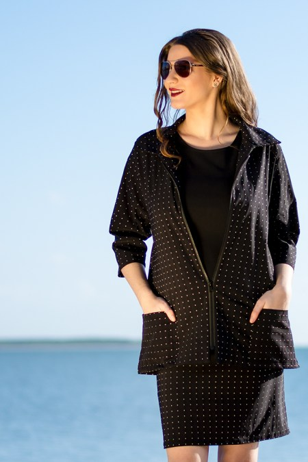 Amore Jacket and Darted Skirt in Black with White Dots