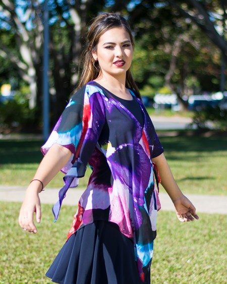 Lily Chiffon Wrap Top in Night Orchid
