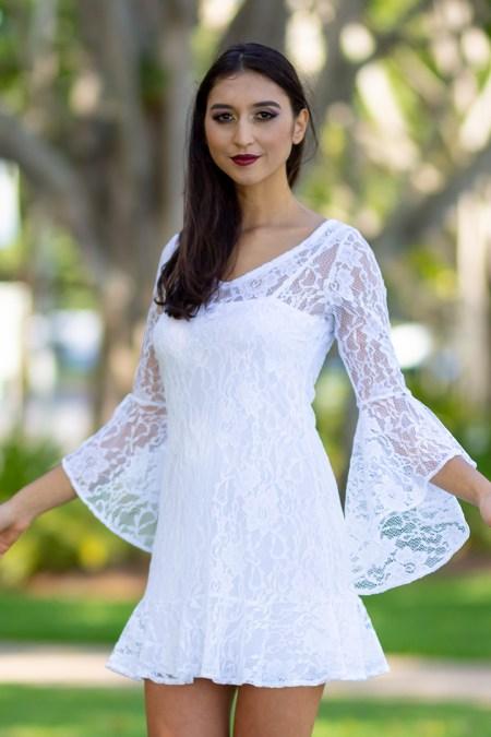 La Dolce Vita in White Lace with Slip