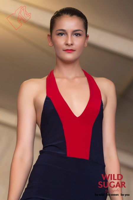 Juno Jump Suit in Nautical Colours Navy and Red