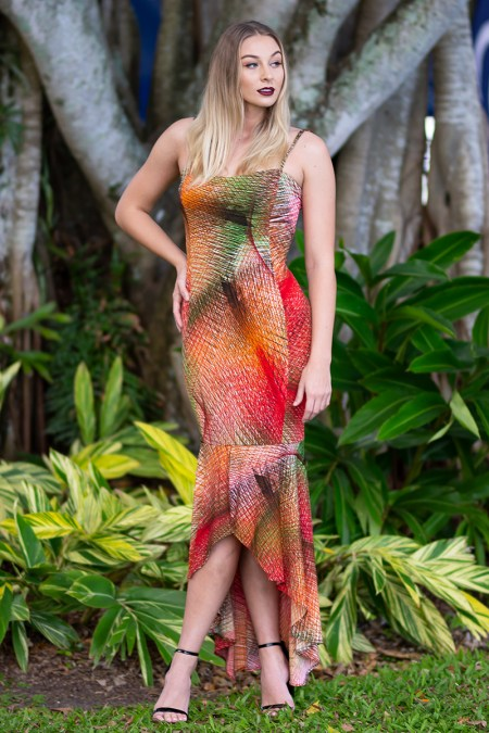 Mermaid Illusion Long Dress in Northern Lights