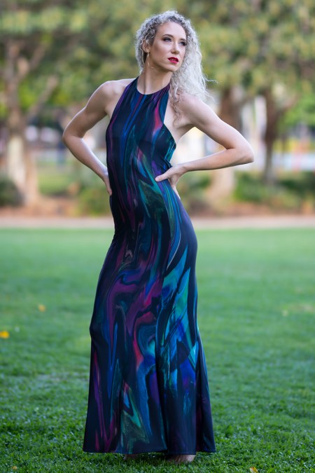 Wild Heart Halter Neck Maxi Dress in Night Opal