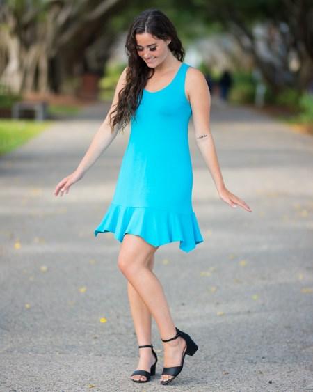 Little Gypsy Dress in Bamboo in Sea Breeze Blue