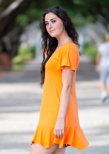 Little Gypsy Dress with Cap Sleeves in Bamboo in Marigold-Orange