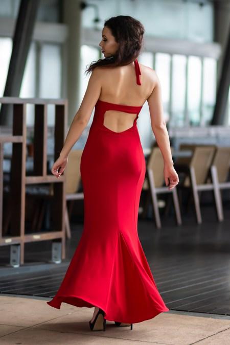 Wild Heart Halter Neck Maxi Dress in Red