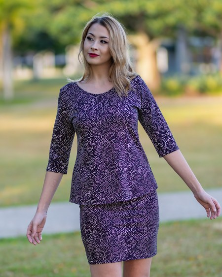 Pretty Bird Top with Three Quarter Sleeves and Straight Skirt in Mustang
