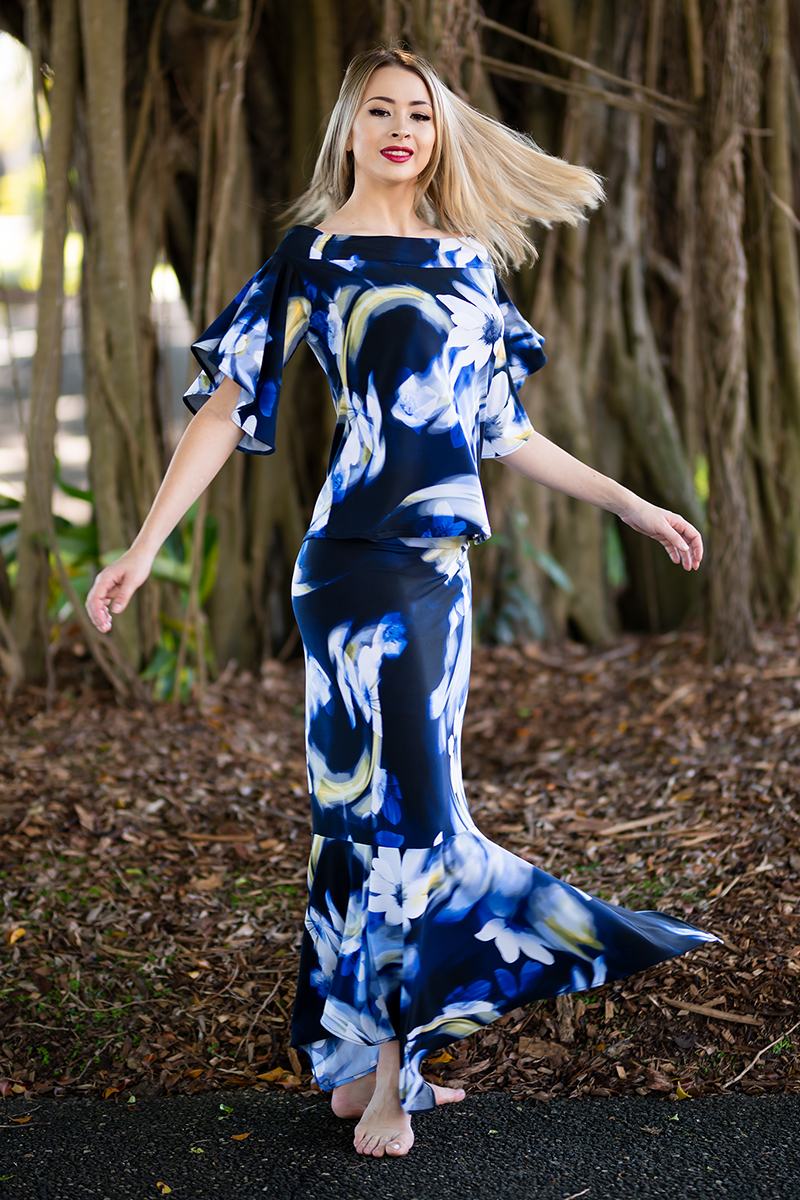 Ellipse Butterfly Top and Australis Skirt in Windswept