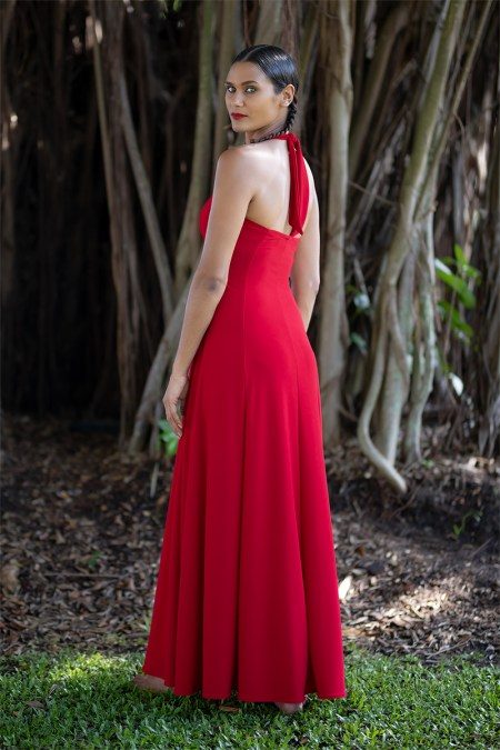 Juno Flared Maxi in Red