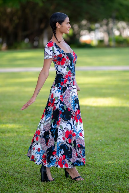 Birdwing Maxi Dress with Butterfly Sleeves in Black Forest