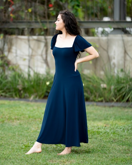 Birdwing Maxi Dress with Butterfly Sleeves in Dark Teal