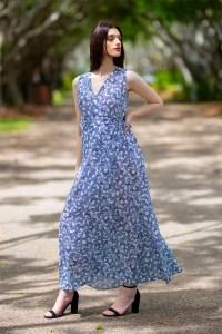 Free Spirit Crossover Tie Cotton Dress in Sky Full of Butterflies