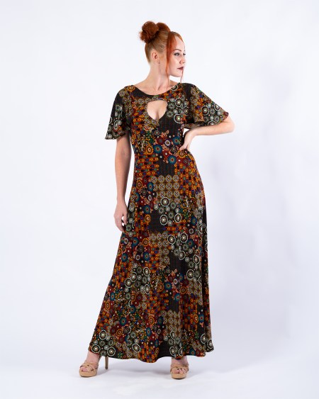 Teardrop Maxi Dress in Peace Flower