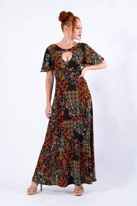 Teardrop Maxi Dress in Peace Flower