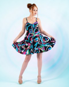 Astrid Empire Sun Dress in Pink and Blue Streamers