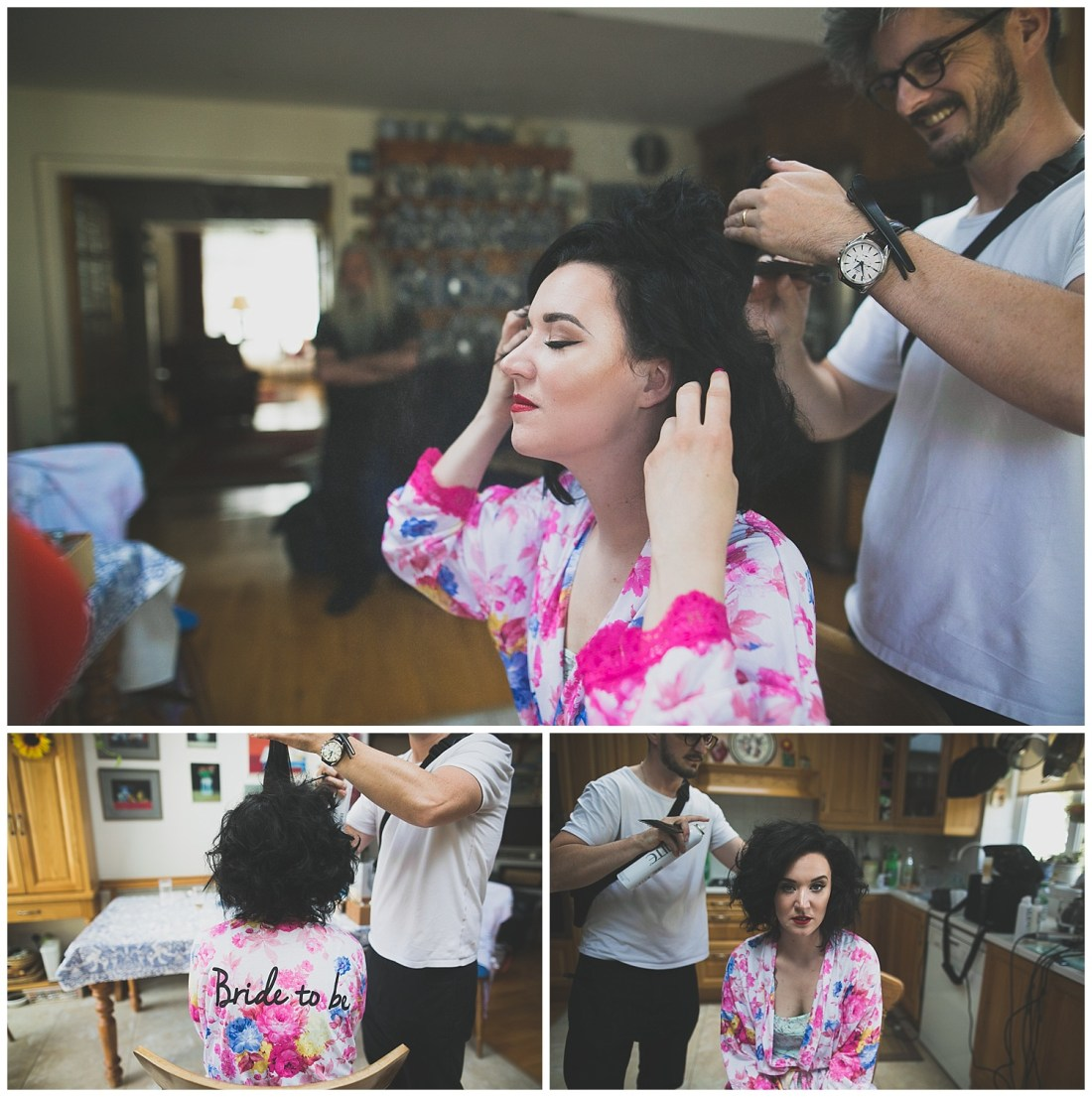 Bride gets short black hair styled in super voluminous glam style - Simon Reilly Hairdressing