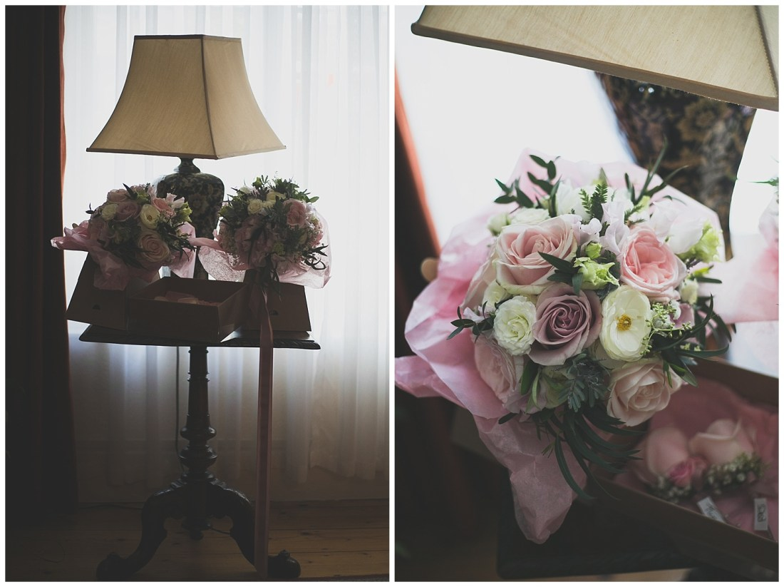 Dusty pink, purple and white wedding bouquets with soft green tones and roses