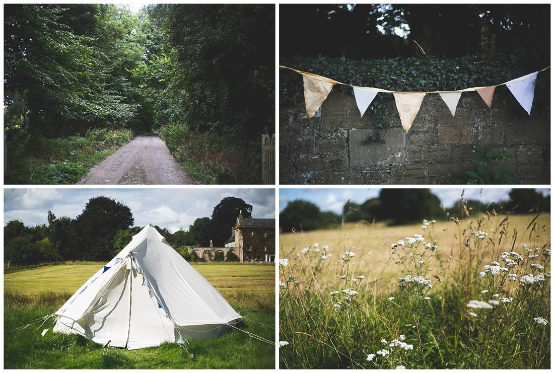 Yurts, florals and bunting at Killyon Manor wedding venue