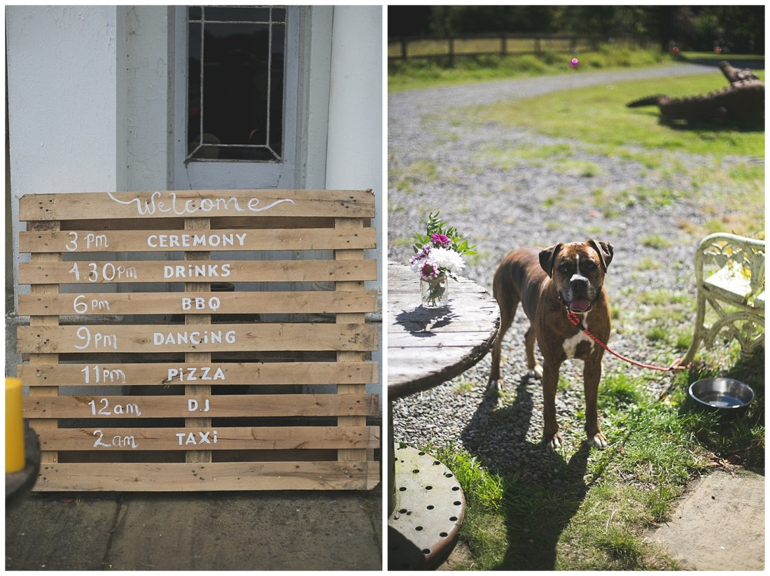 Wedding timetable and sign painted on a crate palette