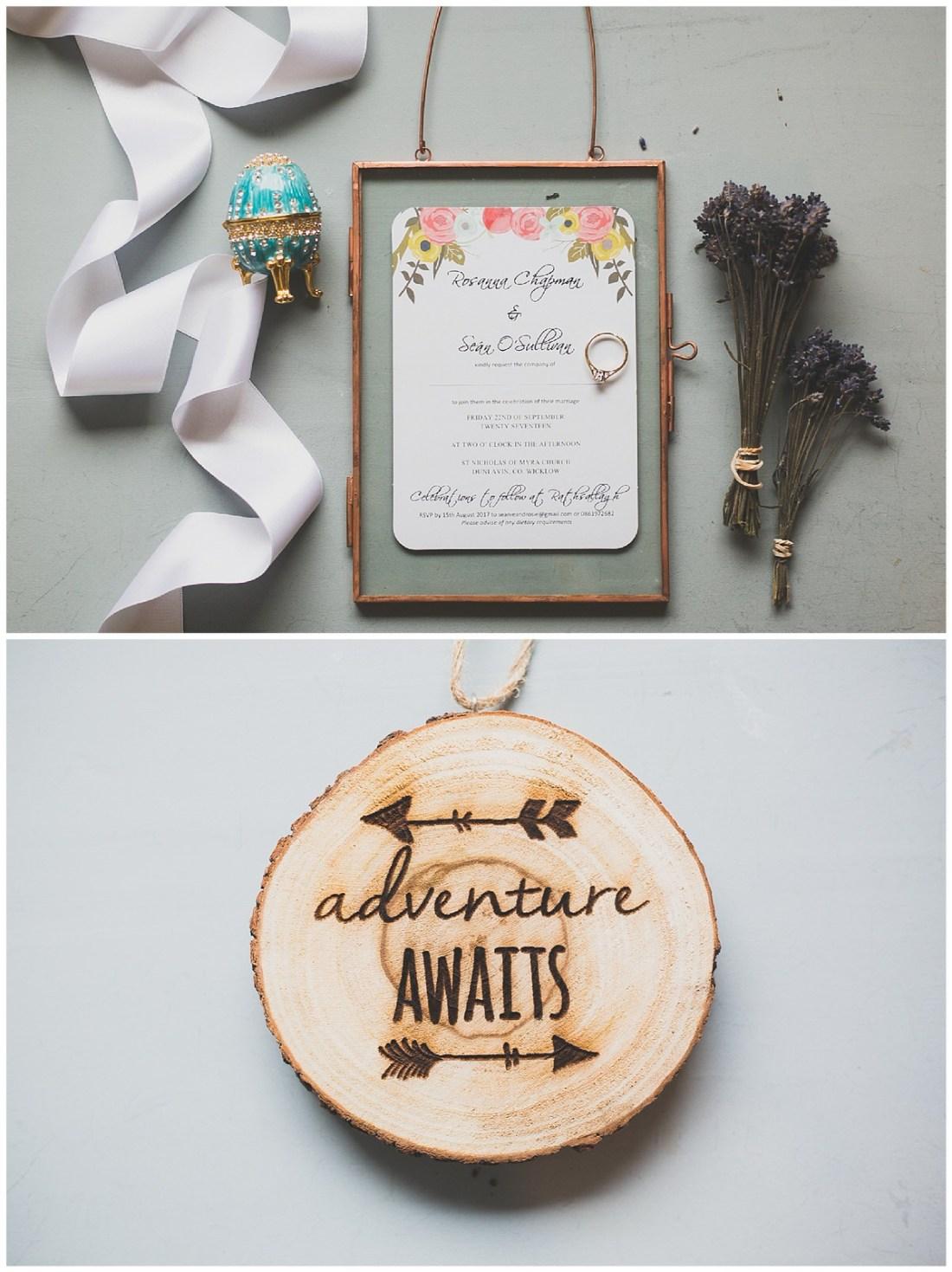 Still life of wedding invitations and ring