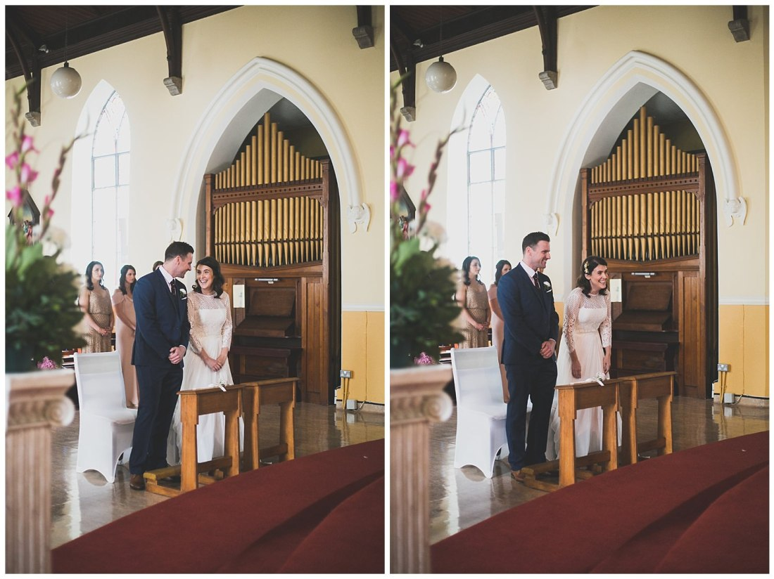 Smiling and laughing during the church wedding ceremony