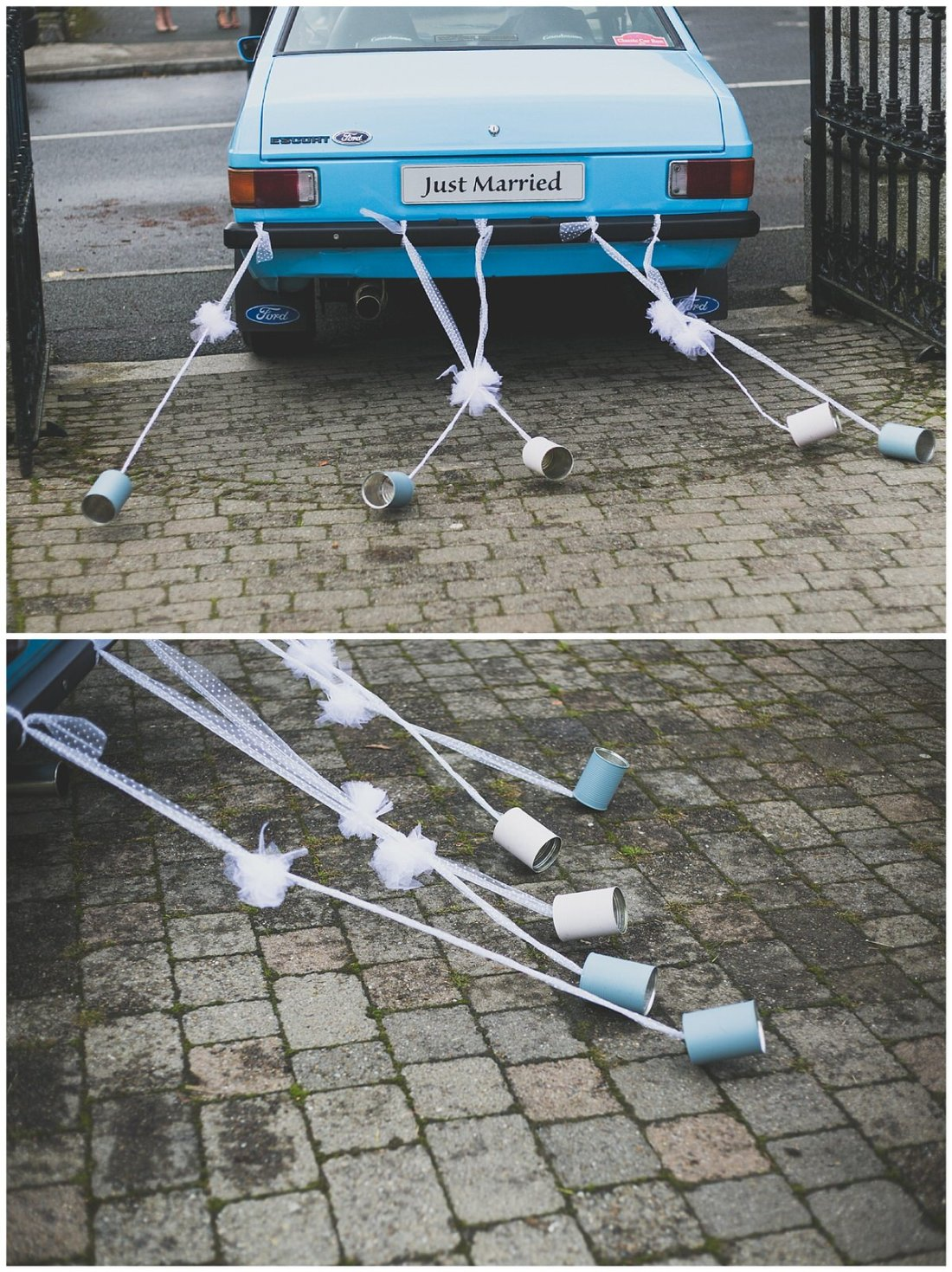 Vintage blue wedding car with trailing cans
