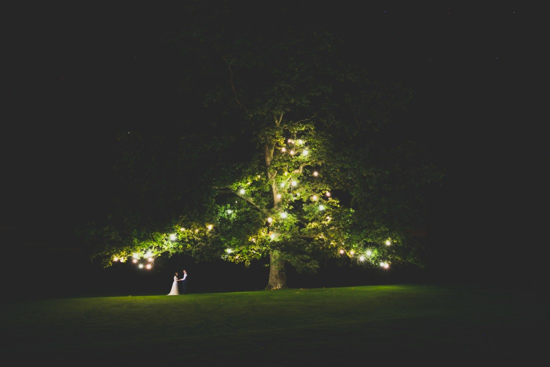 large lit up fairy light tree at Rathsallagh House wedding