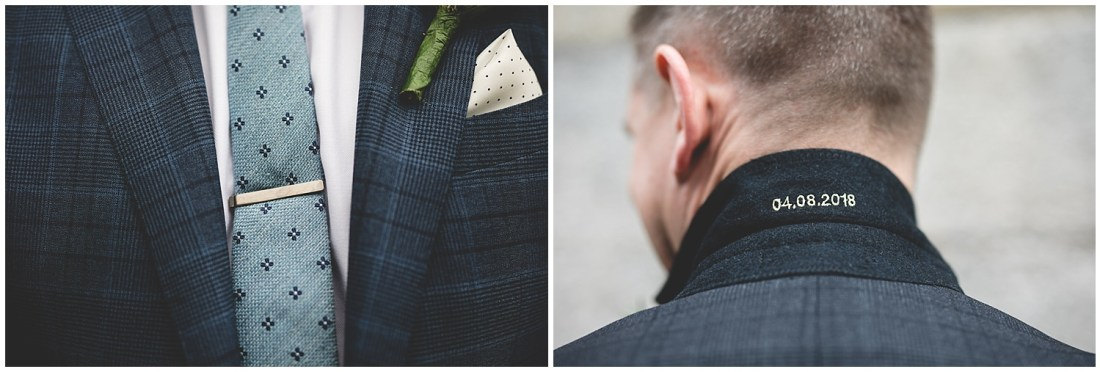 custom embroidered wedding date in suit collar