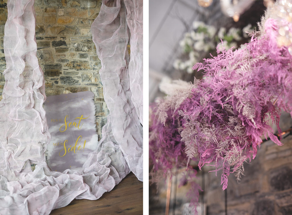 Pink wedding ceremony decor styled by Elk Stylist
