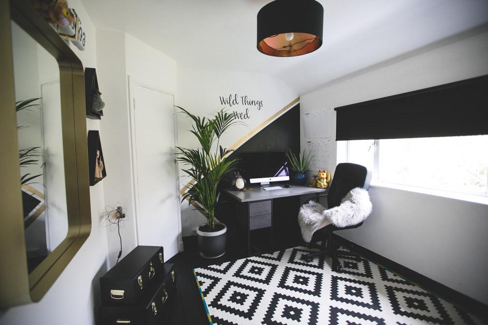Black, White & Gold Themed Home Office