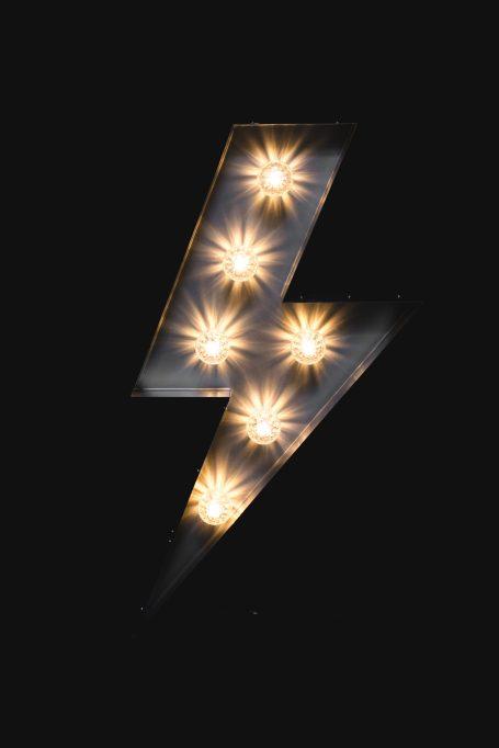 Metal Lightning Bolt Sign Rental in Dublin Ireland