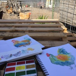 Painting roosters