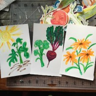 Created February 17, 2016, by Lisa Chu. Brainstorming for artwork to be created for a children's garden education activity.