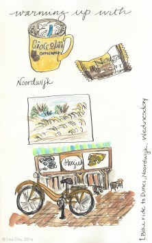 Sketch from my hot chocolate break on the North Sea during my bike ride through the tulip fields near Keukenhof on King's Day