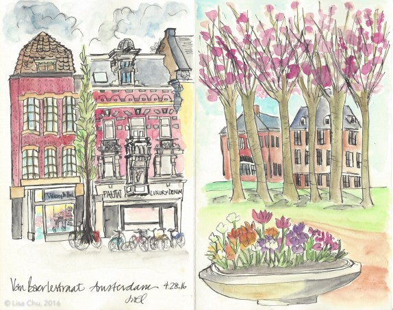 Sketches from my meetup with Evelyn Yee, an urban sketcher from Melbourne (and Instagram friend) who just happened to be in Amsterdam at the same time - we sat in the Stedelijk Museum cafe and then outside the Van Gogh Museum
