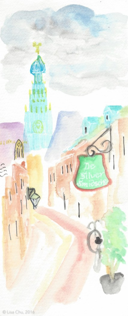 Quick sketch of a side street in Haarlem, with view of St. Bavo's Church, captured on Flower Festival day