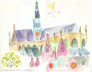 St. Bavo's Church, Haarlem - first day in Holland, sketched at an outdoor cafe