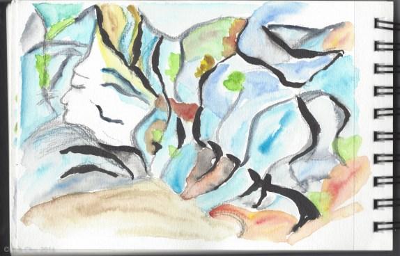 "Sketch of ""Buddha in the rocks"" at Yosemite Creek."