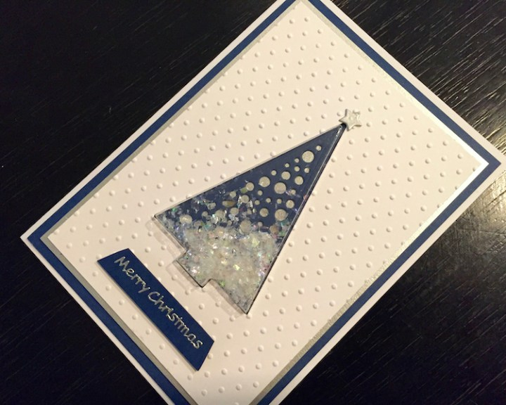 Christmas tree shaker card with Glitter Jewels snowfall effect