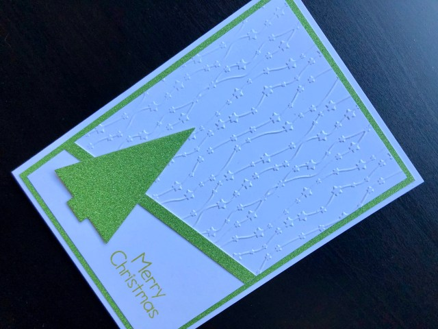 Hand made Christmas card with embossing and die cut glitter card tree