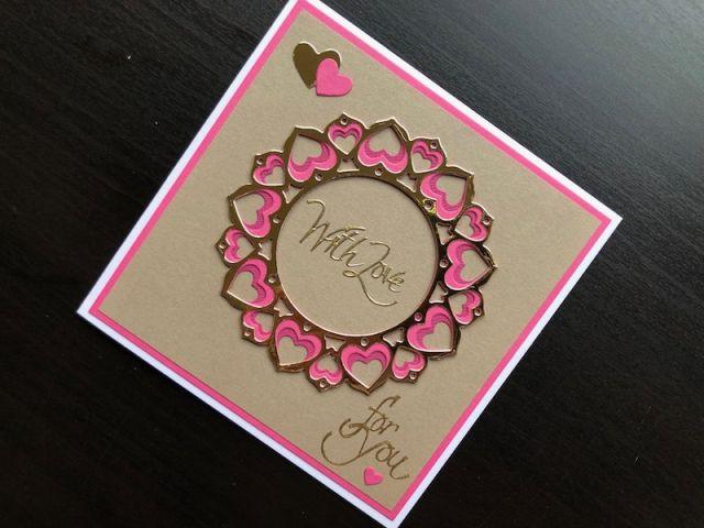 Hand made Valentine card using the Birch Press Adora layering die set.