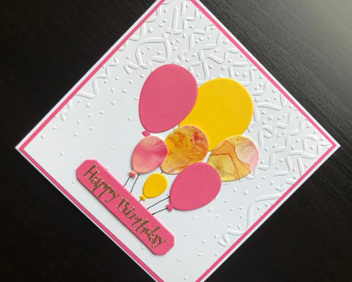 Hand made birthday card with die cut balloons