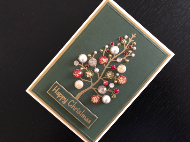 Hand made Christmas card with a bubble bloom festive jewelled tree.