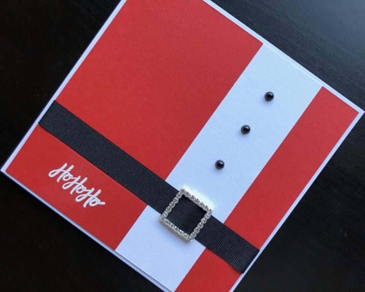hand made christmas card with Santa's jacket and belt