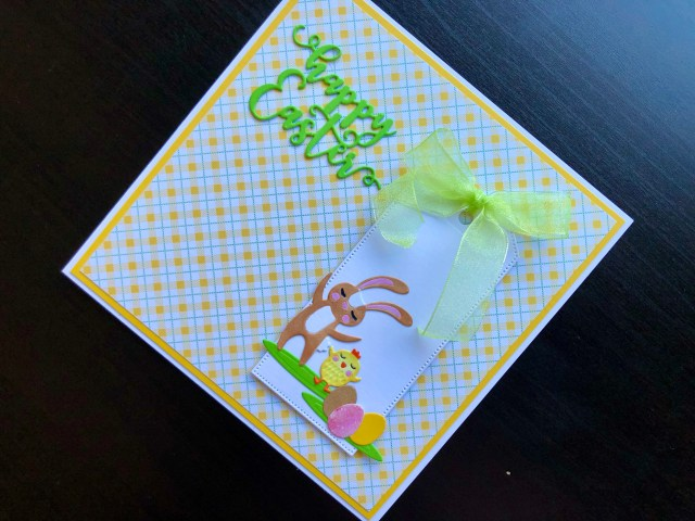 Hand made Easter card with die cut bunny and chick