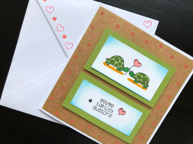Hand stamped anniversary card with turtles and matching envelope