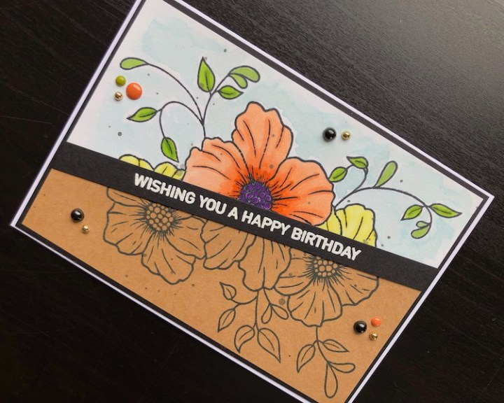 Hand made birthday card with diagonal half and half stamping