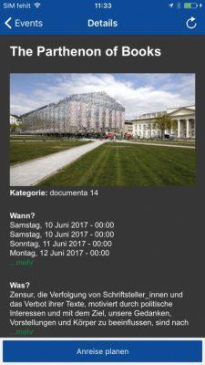 Screenshot der NVV-App