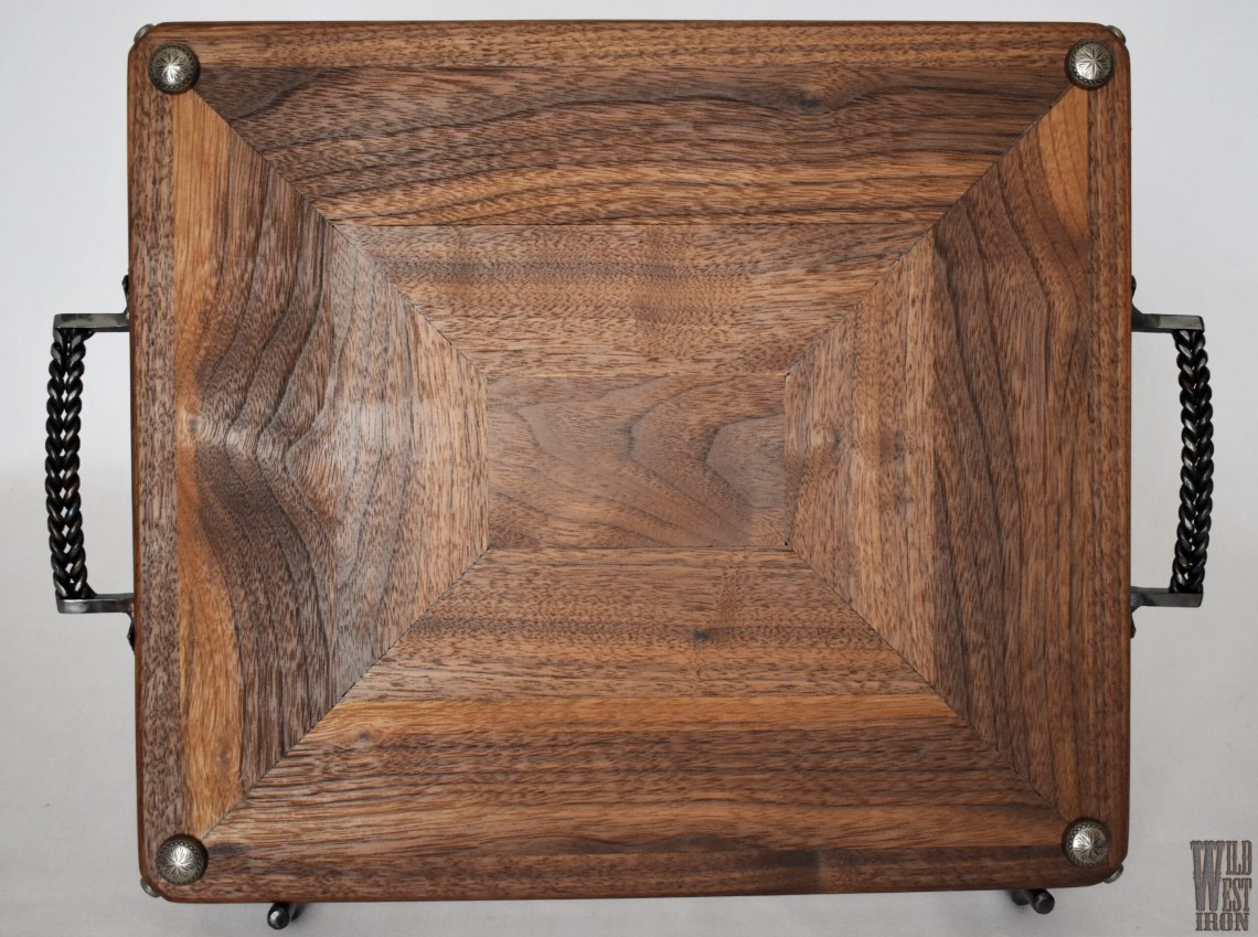 Walnut Serving Tray with Curved Iron Handles