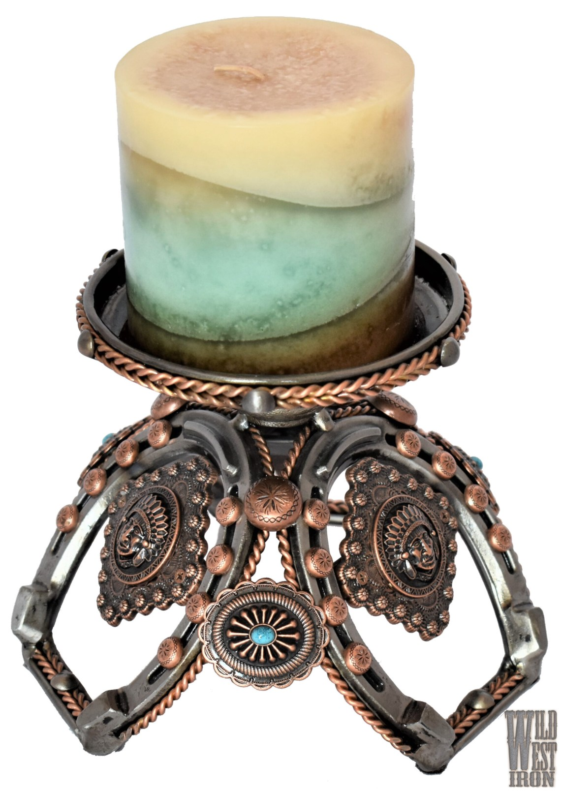Copper and Horseshoe Candle Holder View Two