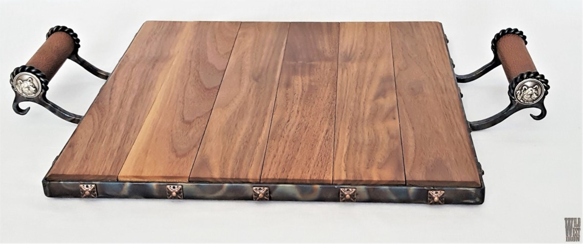 Bear Serving Tray with Leather Handles